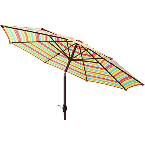 Mainstays 9 Durable Style Steel Frame with Polyester Canopy Market Outdoor Shades Patio Umbrella with Tilt and Crank – Multicolor