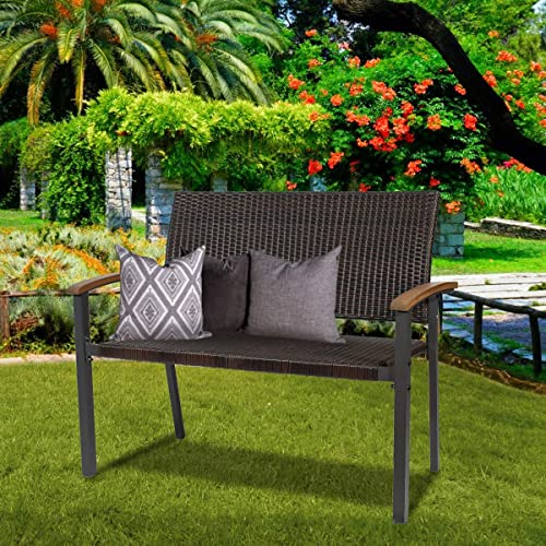 43 Inch Garden Bench Metal Frame Outdoor Seating Furniture,Patio Wicker Bench Double Seats Chair w/Backrest and Wooden Arm