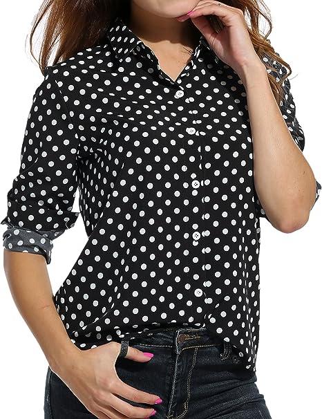 bc49c0c94 Zeagoo Womens Long Sleeve Casual Polka Dot Button Up Office Blouse Shirt  Top,Black,