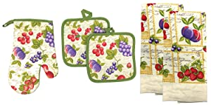 Kitchen Collection 5-Piece Kitchen Linen Set, Set Of 1 Oven Mitt, 2 Pot Holders and 2 Kitchen Towels, Value Pack Perfect For Gift, Great For Combining Fun And Color Into The Kitchen (Fruit Mix)