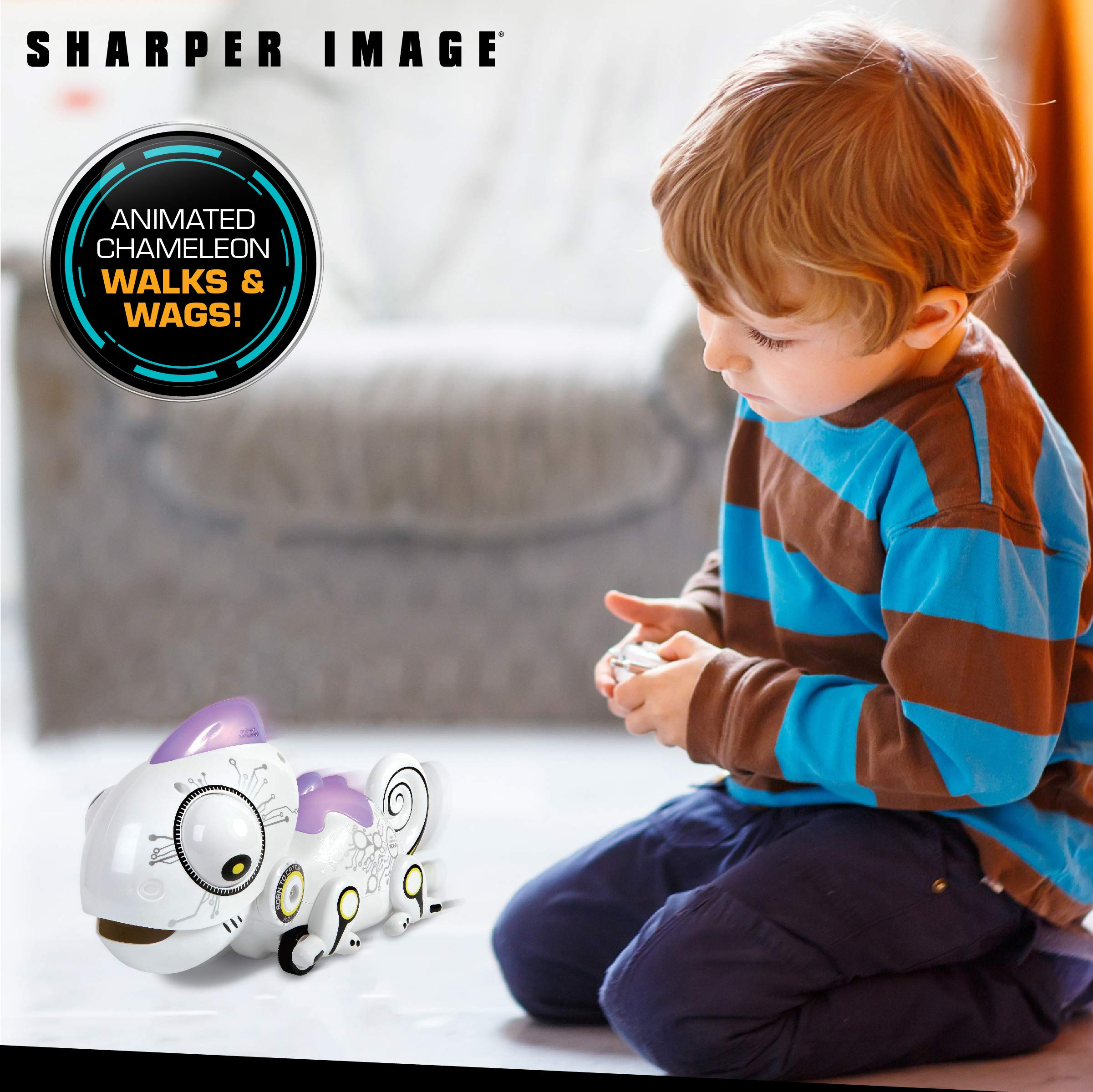 Sharper Image Color Changing RC Robotic Chameleon Toy with Multi Colored LED Lights and Bug Catching Action; Multi-Directional Remote Control & Extendable Tongue with Animated Eyes and Tail by Sharper Image (Image #4)