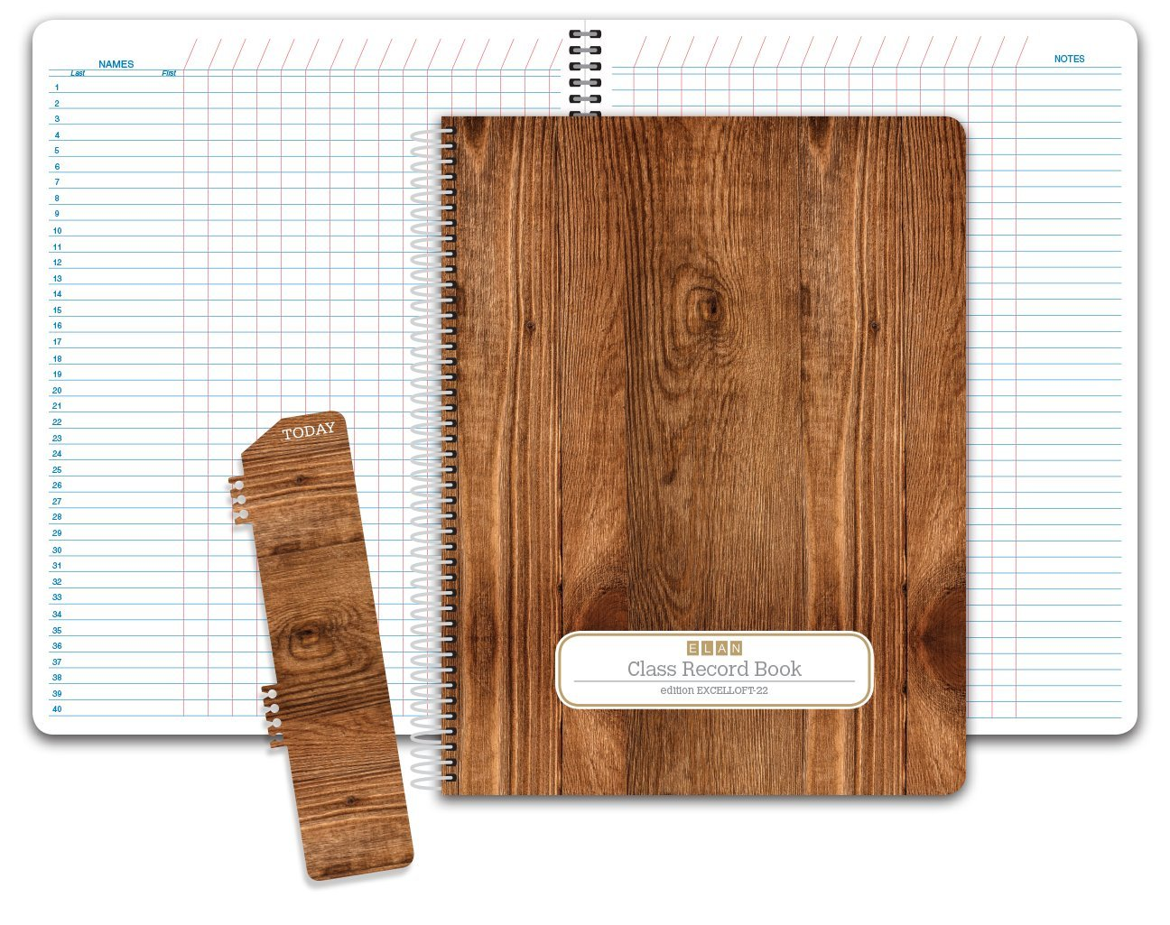 Class Record Book Unstructured.Set it up to Record Grades Your Way! 40 Student Names (Excello - Woodgrain) ELAN Publishing Company EXCELLOFT-22