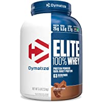 Dymatize Elite 100% Whey Protein Powder with 25g Protein, 5.5g BCAAs & 2.7g L-Leucine, 5 lb. Canister (Chocolate Fudge)