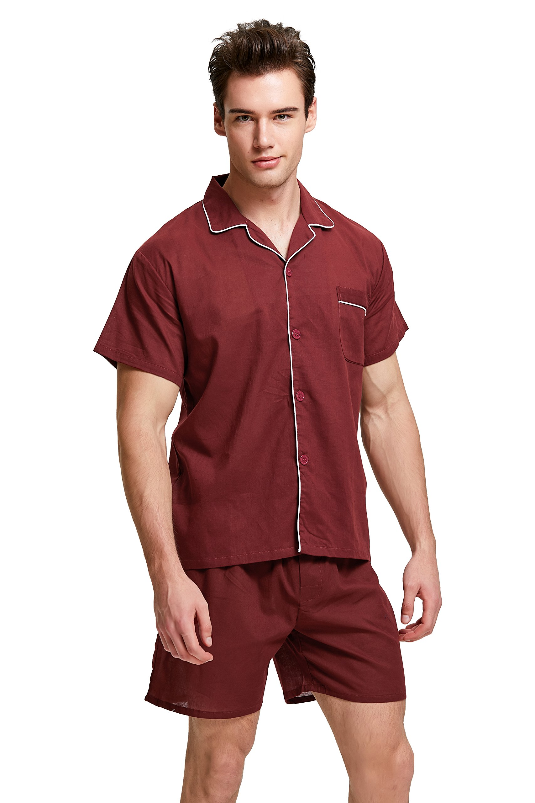Men's Cotton Pajama Set, Short Sleeve Woven Sleepwear with Shorts, Button Down Nightwear (Burgundy with White Piping, Medium)