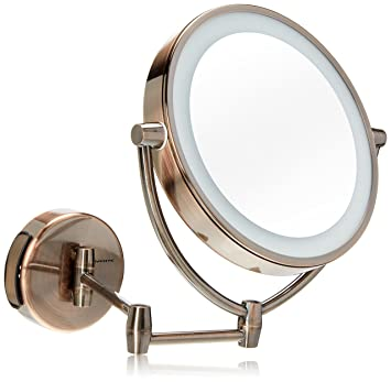 Amazon Com Ovente Wall Mounted Vanity Makeup Mirror 9 5 Inch With 10x Magnification And 3 Tone Led Lights Energy Saving With Auto Shutoff Timer 2 Choices Of Power Supply Antique Brass Mlw95ab1x10x Beauty