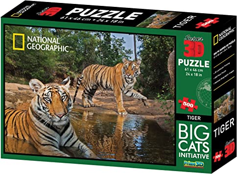 National Geographic Big Cats Initiative Tigers Super 3D Puzzle (500-Piece, Multi-Colour)