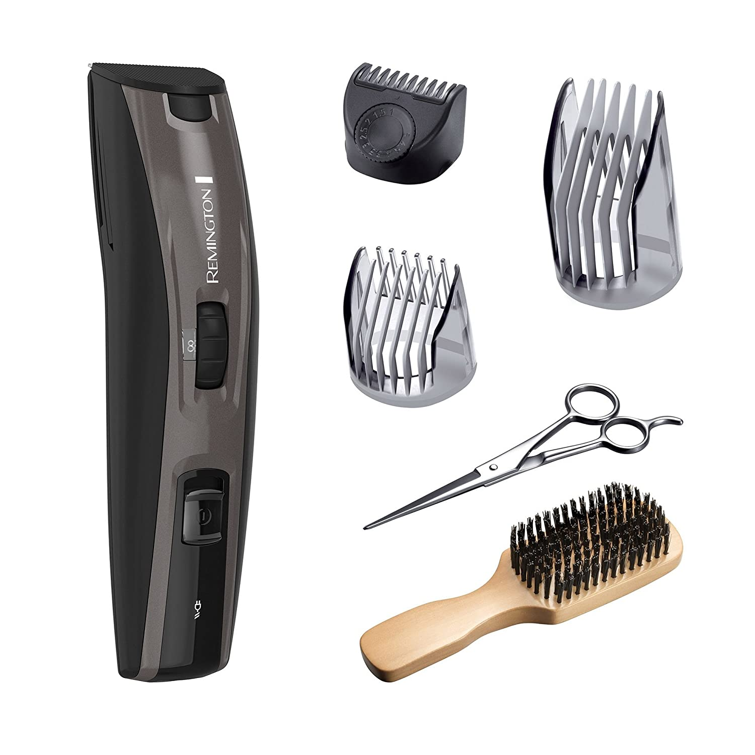 Remington MB4045B The Beardsman Beard Boss Full Beard Trimmer Kit, Precise Detail Groomer 6 pieces , Platinum