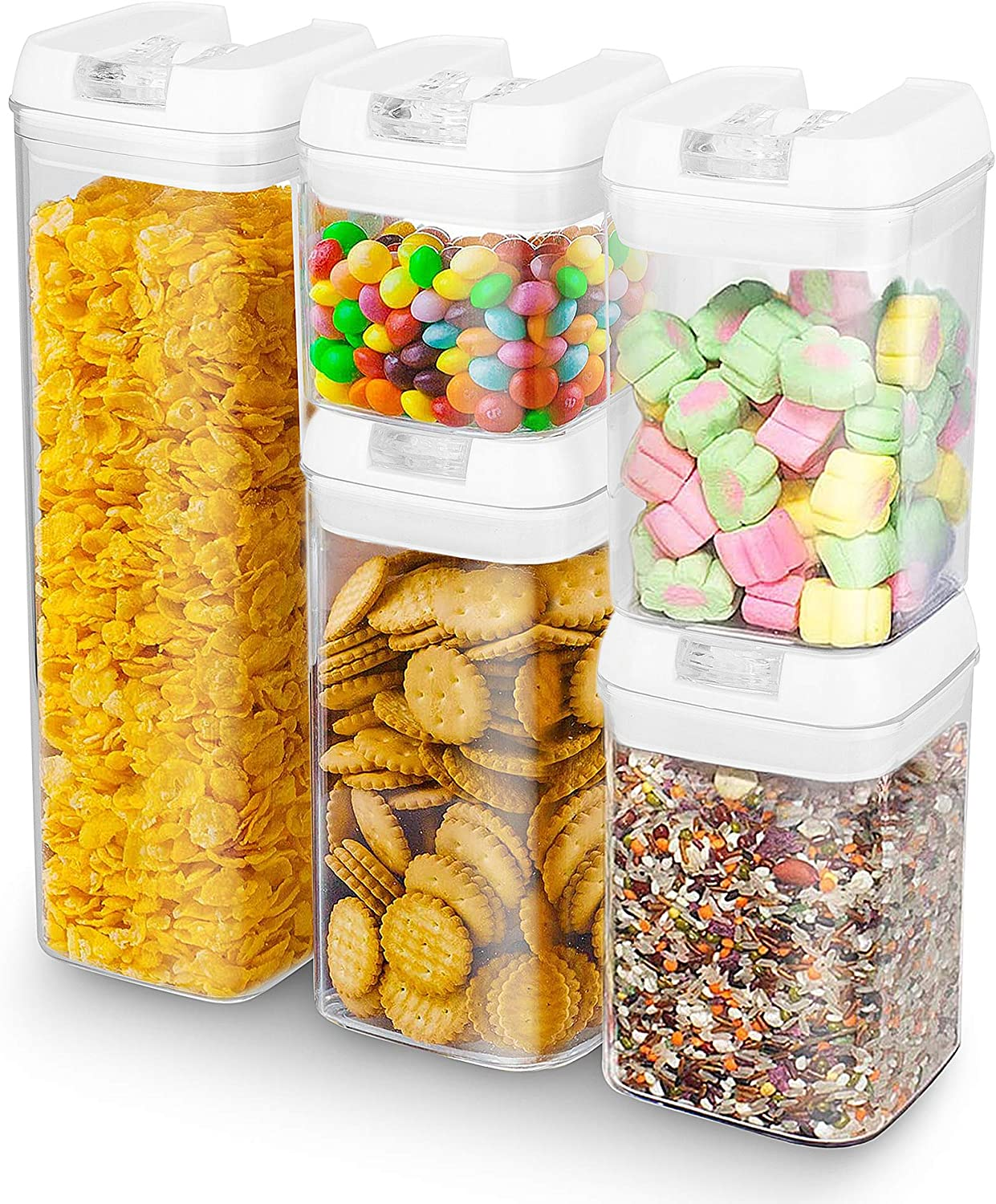 5-Piece Airtight Food Storage Containers, ENLOY Plastic BPA-Free Kitchen & Pantry Organization Containers with Lids for Cereal, Spaghetti, Noodles, Pasta - 16oz, 25oz, 38oz, 60oz