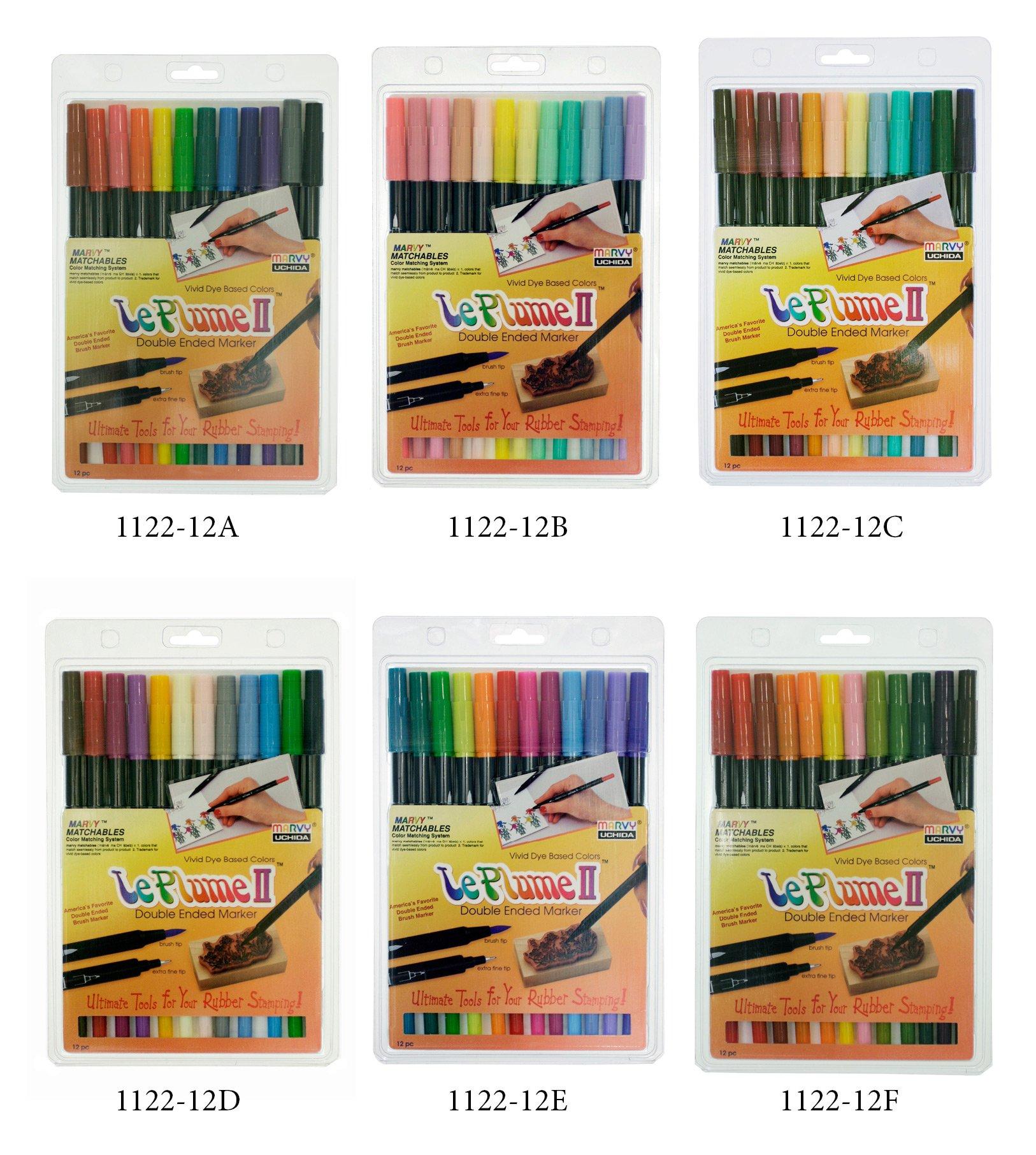 Uchida of America Large Bundle Set of 6 Le Plume II- 72 Pen Set, 1122-12A, 1122-12B, 1122-12C, 1122-12D, 1122-12E, 1122-12F