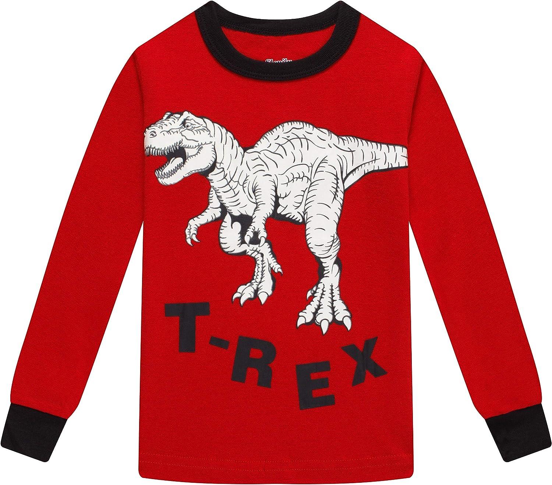Pajamas for Boys Christmas Kids Children Dinosaurs Sleepwear Baby Clothes 4 Pieces Cotton Pants Set