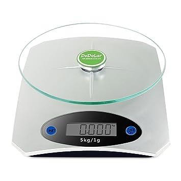 Digitale Küchenwaage mit Glasplatte Haushaltswaage Digitalwaage 5 kg Auto Off