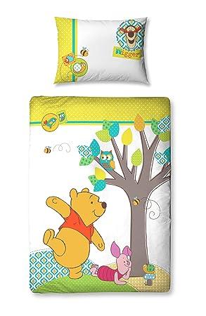 Character World Winnie l\'ourson - Parure de lit - Housse de Couette - Petit  LIT 120 x 150cm - la forêt