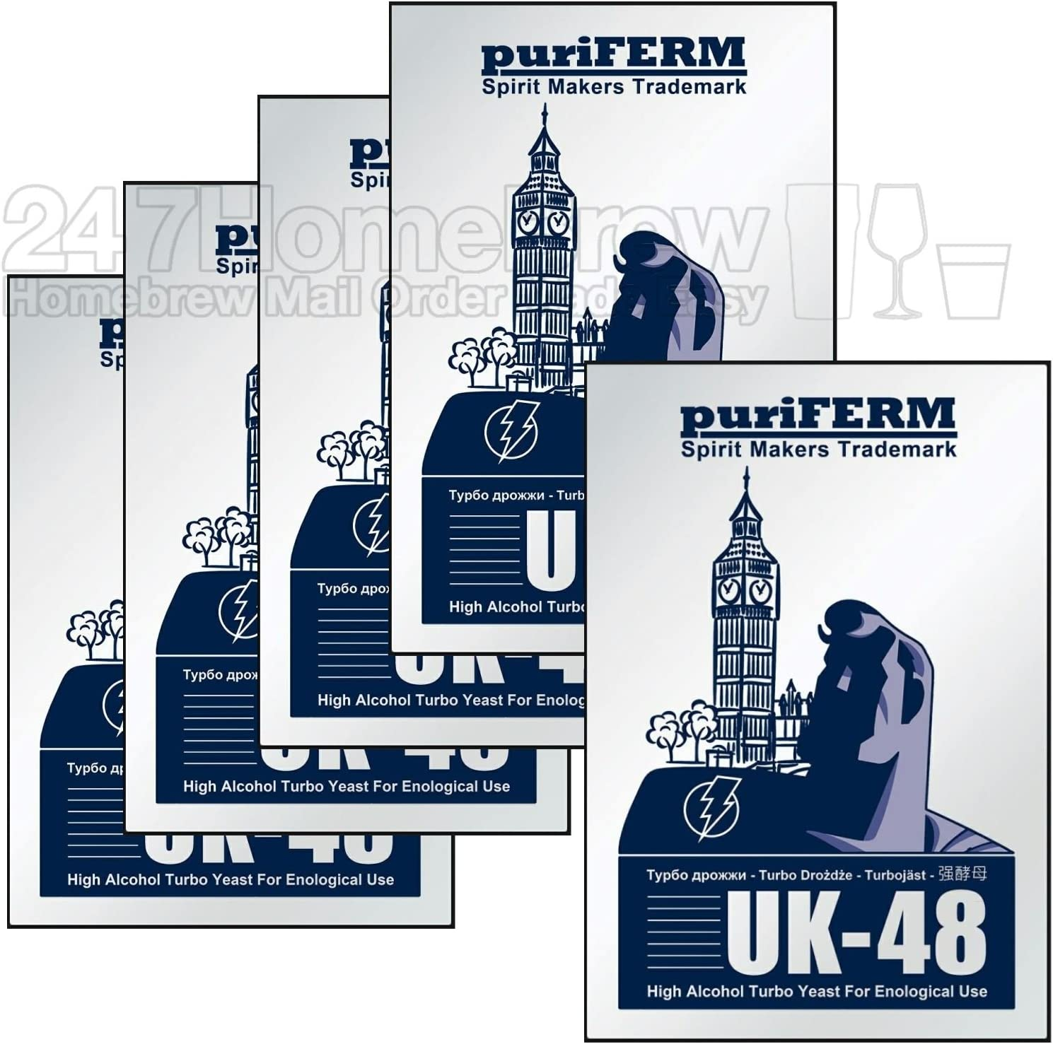 5X Puriferm UK-48 Turbo Yeast 48hr High Alcohol fermentaion