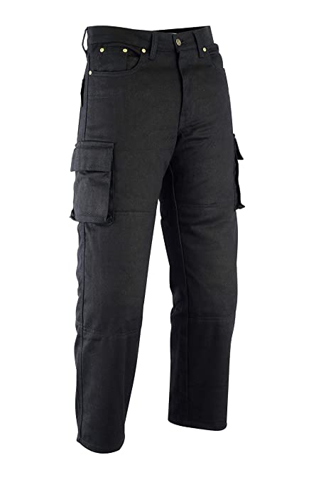 77bd32bbc2 Mens 6 Pocket Kevlar Black Motorcycle Denim Jeans/Cargo Pants + Armour -  Great Size