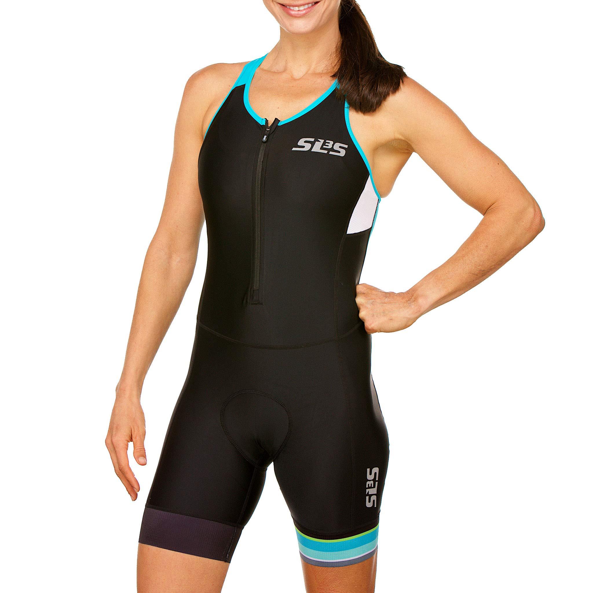 SLS3 Women`s Triathlon Tri Race Suit FRT | Womens Trisuit | Back Pocket Triathlon Suits | Anti-Friction Seams | German Designed (Black/Martinica Blue, XS) by SLS3 (Image #1)