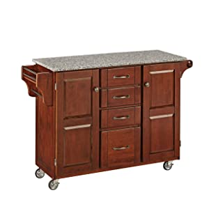 Home Styles 9100-1073 Create-a-Cart 9100 Series Cabinet Kitchen Cart with Salt and Pepper Granite Top, Medium Cherry Finish
