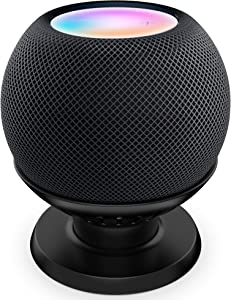 PlusAcc Table Holder Stand Compatible with HomePod Mini - Sturdy Desktop Mount Stand Bracket, No Muffled Sound, Space-Saving Pedestal for Home Pod Mini (Black)
