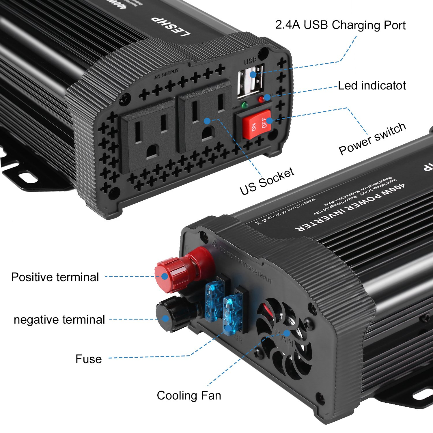 LESHP 400W Power Inverter DC 12V to AC 110V Car Adapter with 4.8A 2 USB Charging Ports by LESHP (Image #3)