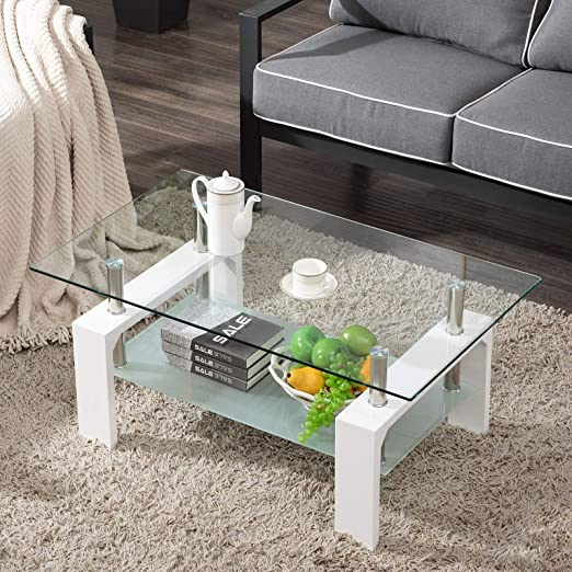 Amazon Com Living Room Rectangle Glass Coffee Table Modern Living Room Table With Lower Shelf Clear Tempered Glass Top With White Color Wooden Legs Living Room Furniture Waiting Area Table Kitchen Dining