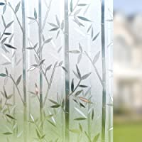Rabbitgoo Frosted Window Film Privacy Decorative Static Cling Vinyl Glass Film Bamboo Pattern