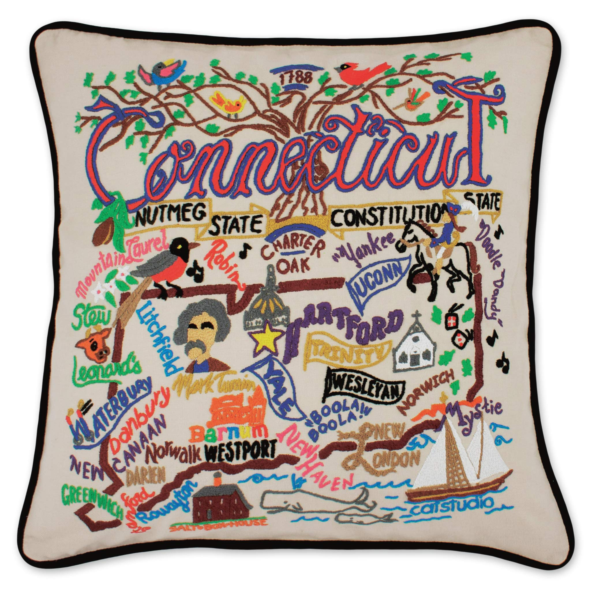 Catstudio | Connecticut Throw Pillow | Hand-Embroidered | 20'' x 20''