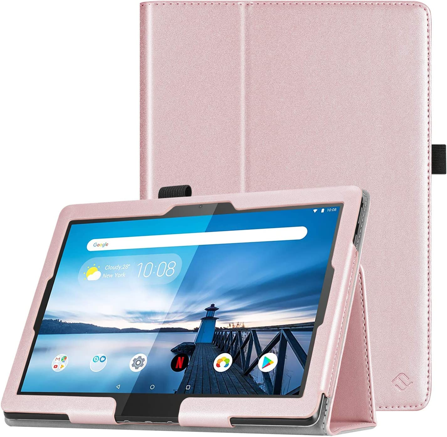 "Fintie Case for Lenovo Smart Tab M10 HD / P10 / M10 - Premium PU Leather Folio Cover for Lenovo Tab M10 HD TB-X505F TB-X505L / P10 TB-X705F TB-X705L / M10 TB-X605F 10.1"" Tablet, Rose Gold"