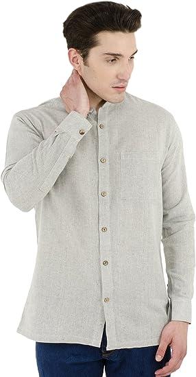 SKAVIJ Hombre Khadi Kurta Camisa para Uso Casual De La India (Gris, Pecho Tamaño: 107 cm): Amazon.es: Ropa y accesorios