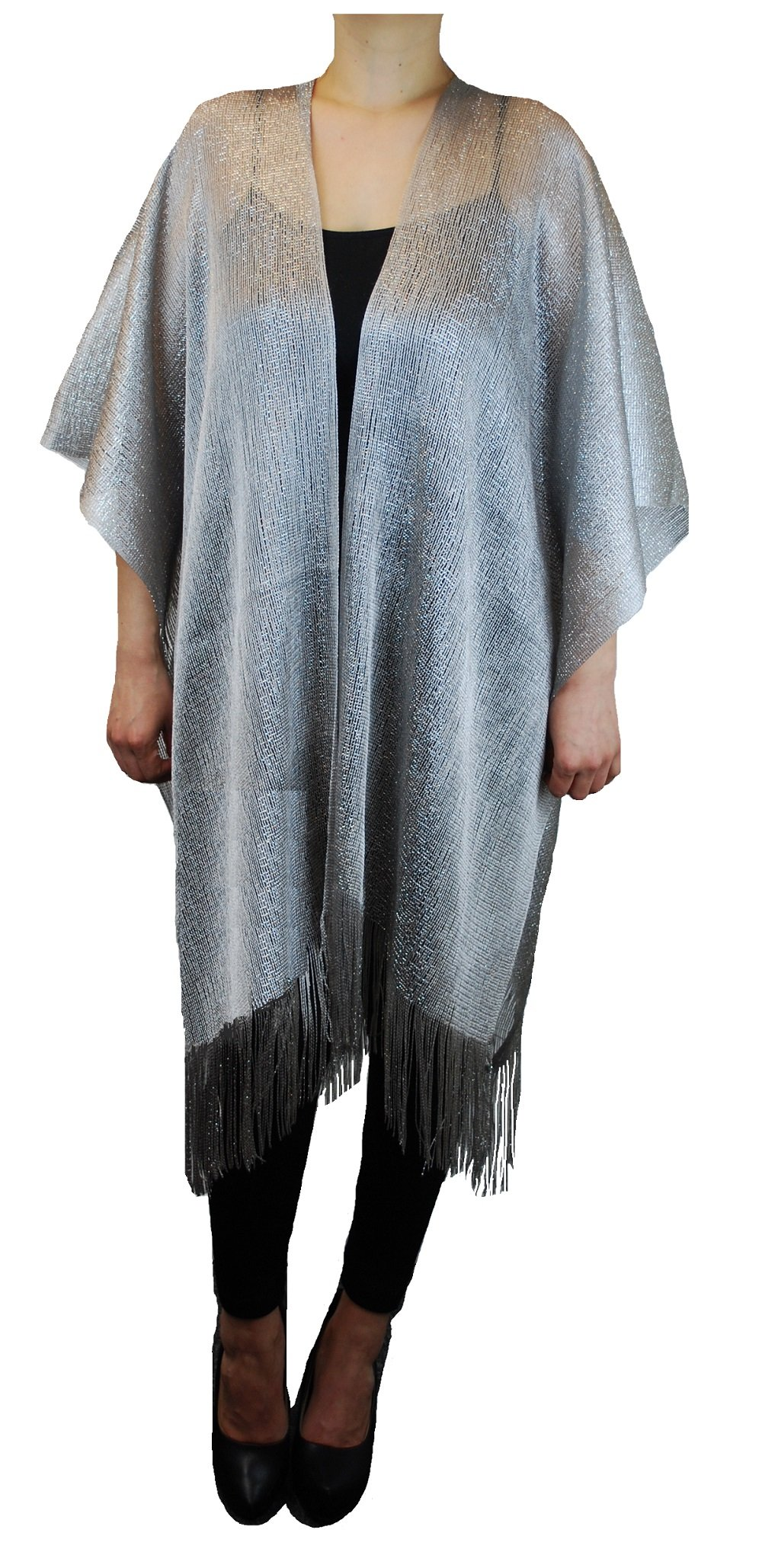 Womens Mother Of The Bride Shiny Metallic Fashion Evening Shawl Tunic Poncho Cover up Cardigan Top (Silver)