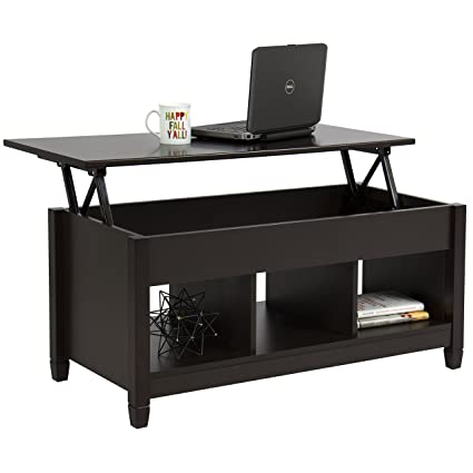 Amazoncom Rectangle Lift Top Coffee Table With Tree Lower Shelves