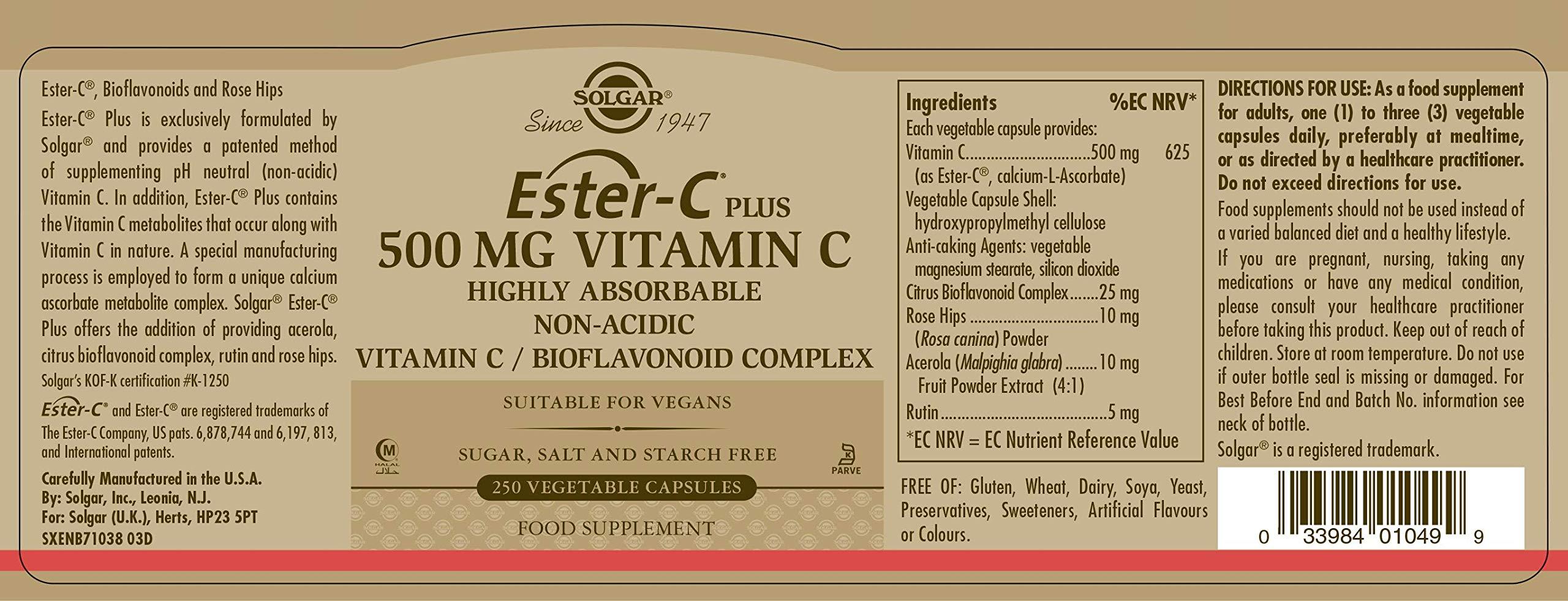 Solgar Ester-C® Plus 500 mg Vitamin C, Immune Support, Well-Retained, Gentle & Non Acidic, Non-GMO, Suitable for Vegans, 250 Vegetable Capsules by Solgar