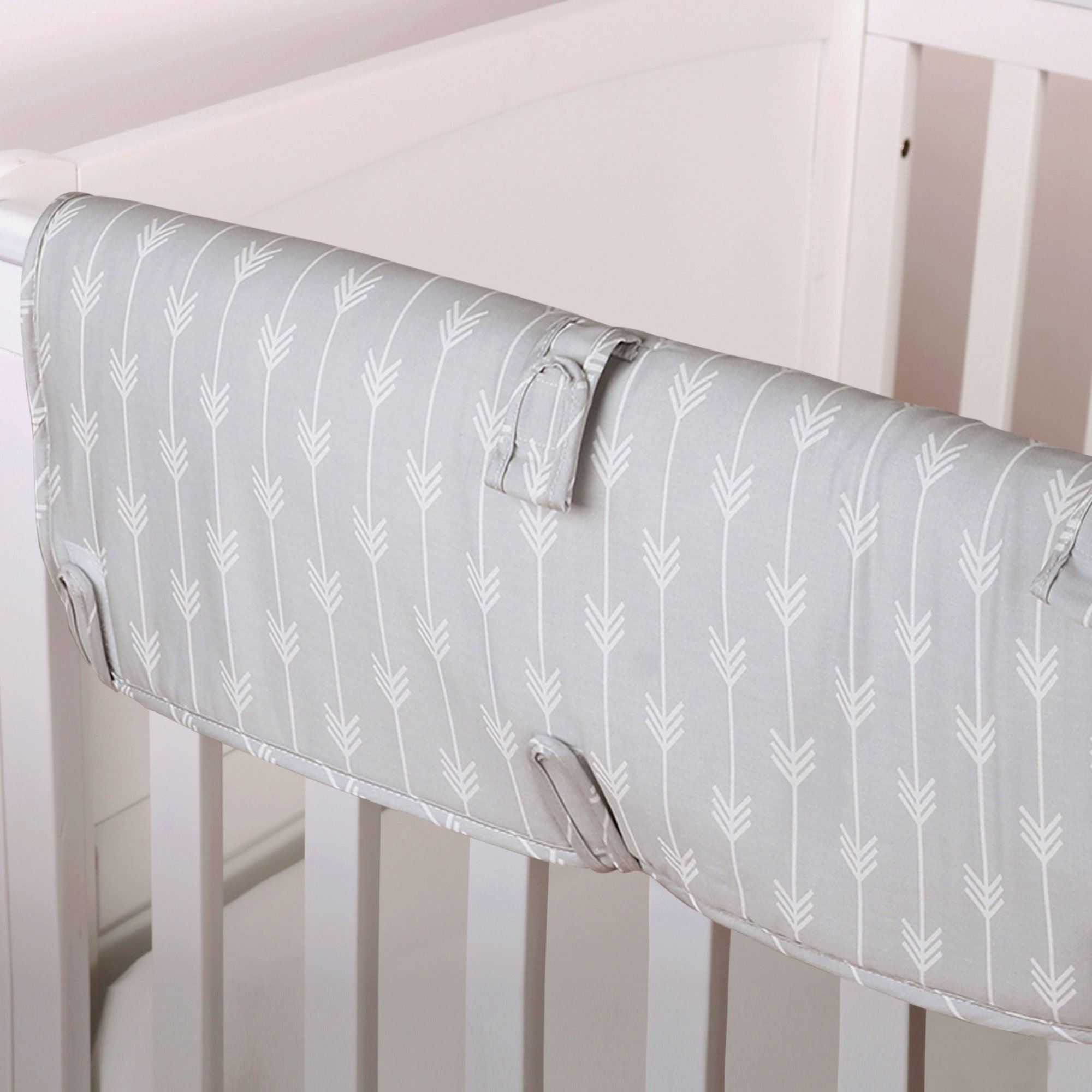 Grey Arrow Print 100% Cotton Padded Crib Rail Guard by The Peanut Shell
