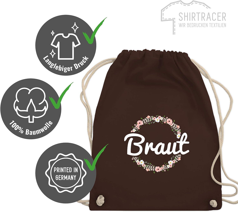 Braut Blumenkranz JGA Junggesellinnenabschied Shirtracer Turnbeutel und Stoffbeutel aus Bio-Baumwolle