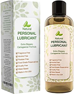 Water Based Lube for Men and Women - Hypoallergenic Natural Personal Lubricant and Silicone Safe Water Based Lube for Toys - Alcohol Free Natural Lube for Sensitive Skin with Aloe Vera - Latex Safe