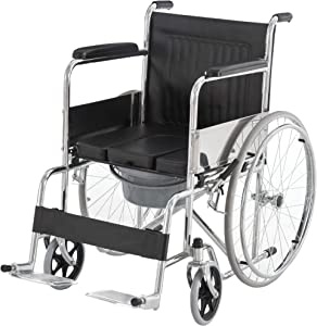 HOMCOM Folding Commode Mobile Toilet Aluminium Alloy Wheelchair with Detachable Bucket for Bedside/Bathroom