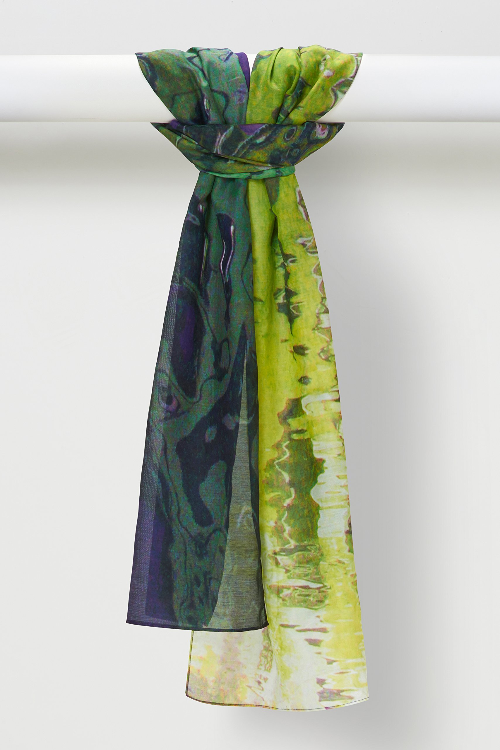 Venetian Light Silk-Cotton Voile Shawl in Eggplant Lime