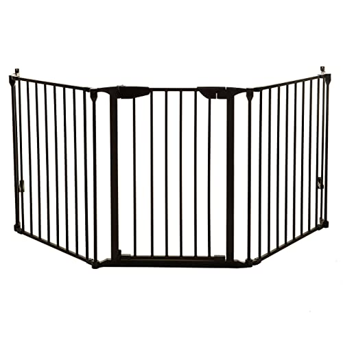 Dreambaby Newport Adapta Baby Gate – Use at Top or Bottom of Stairs – for Straight, Angled or Irregular Shaped Openings Black