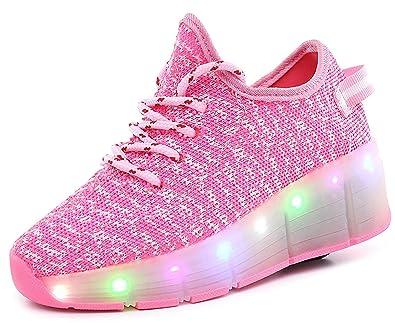 Kinder Jungen Mädchen kateboard Schuhe Rollen Verstellbare Schlittschuhe Neutral Rollschuh Schuhe mit LED 7 Farbe Farbwechsel Lichter Blinken Skateboard Lnline Sneaker lAZpcAPa