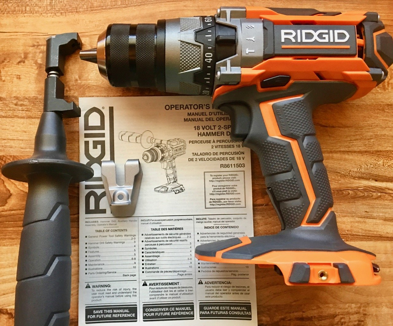 Ridgid R8611503 Gen5X 18V Lithium Ion Cordless 1/2 Inch 780 Inch Pound Hammer Drill with LED Lighting and Textured Handle (Battery Not Included, Tool Only) by Ridgid (Image #1)