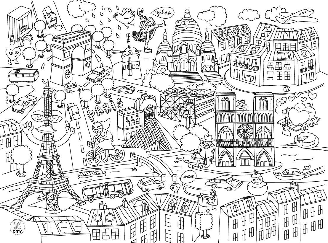 OMY Pochette de 24 sets de table villes /à colorier Paris,Londres,New York Berlin Tokyo Barcelone