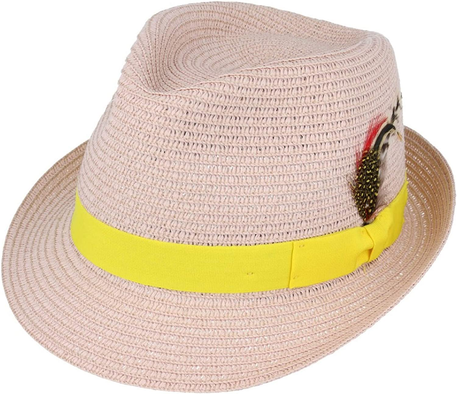 MAZ Paper Straw Crushable Summer Beach Trilby Hat with Band and Adjustable Sweatband