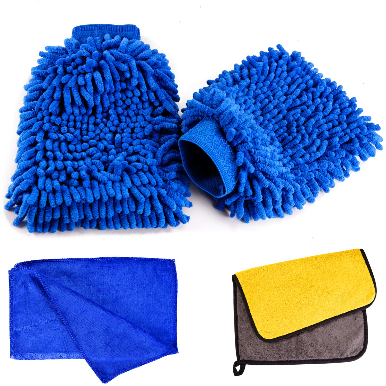 Scratch Free Car Wash Mitt -Ultra soft Microfiber Car Cleaning Wash Gloves with Super Absorbent Microfibre Thick Plush Cloths and Cleaning Cloth For Car or Household Super Absorbent 4pcs Lint Free