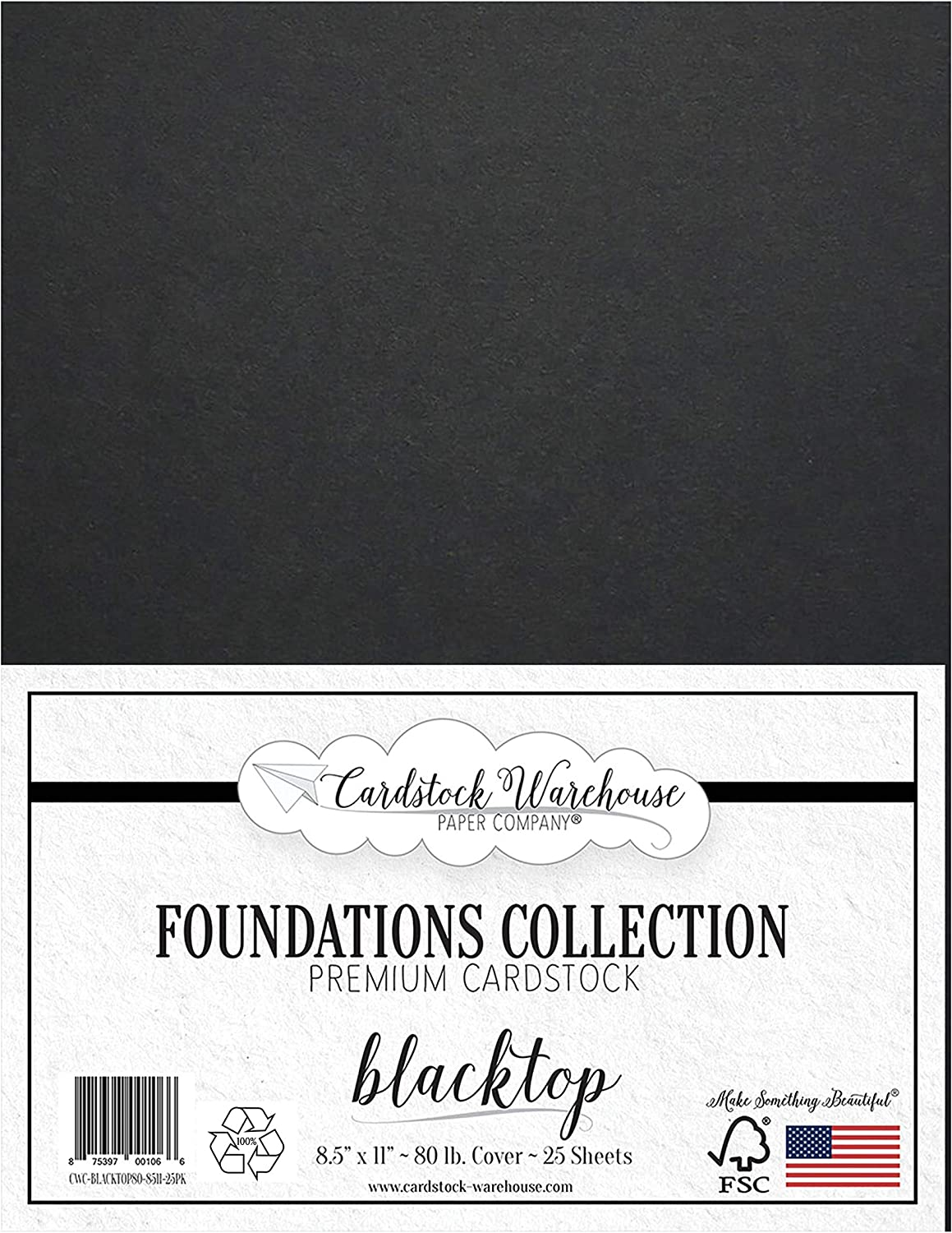 Blacktop 100% Recycled Cardstock Paper - 8.5 x 11 inch Premium 80 LB. Cover - 25 Sheets from Cardstock Warehouse