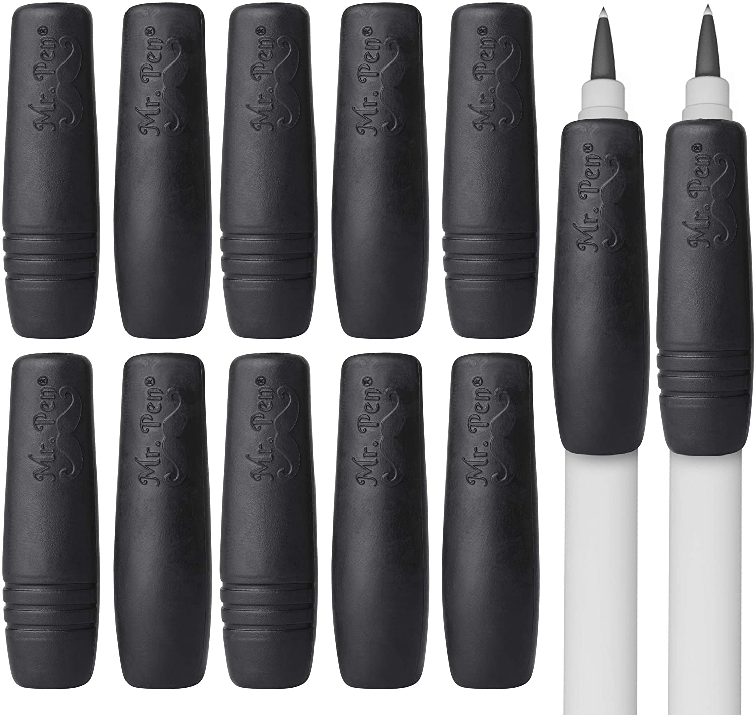 Mr. Pen- Pencil and Pen Grips, 12 Pack, Black, Pencil Grips for Adults, Rubber Pencil Grips, Pen Grips for Adults with Arthritis, Ergonomic Pencil Grip, Pen Gripper, Pencil Cushions for Writing