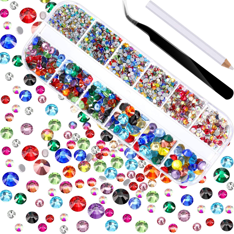 2000 Piezas de Diamantes de Imitación de Espalda Plana de Vidrio Hot Fix Gemas Cristales Redondas 1,5-6 MM (SS4-SS30) en Caja de Almacenamiento con Pinzas y Bolígrafos de Diamantes(Multicolor)