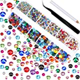 2000 Pieces Hot Fix Glass Flatback Rhinestones HotFix Round Crystal Gems 1.5-6 MM (SS4-SS30) in Storage Box with Tweezers and Picking Rhinestones Pen (Multicolor)