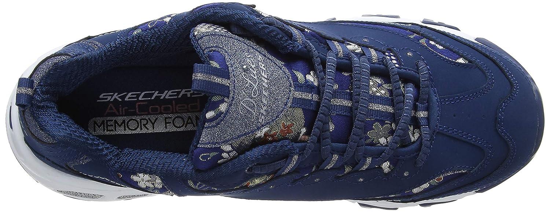 Skechers Damen D'lites floral Days Sneaker, blau
