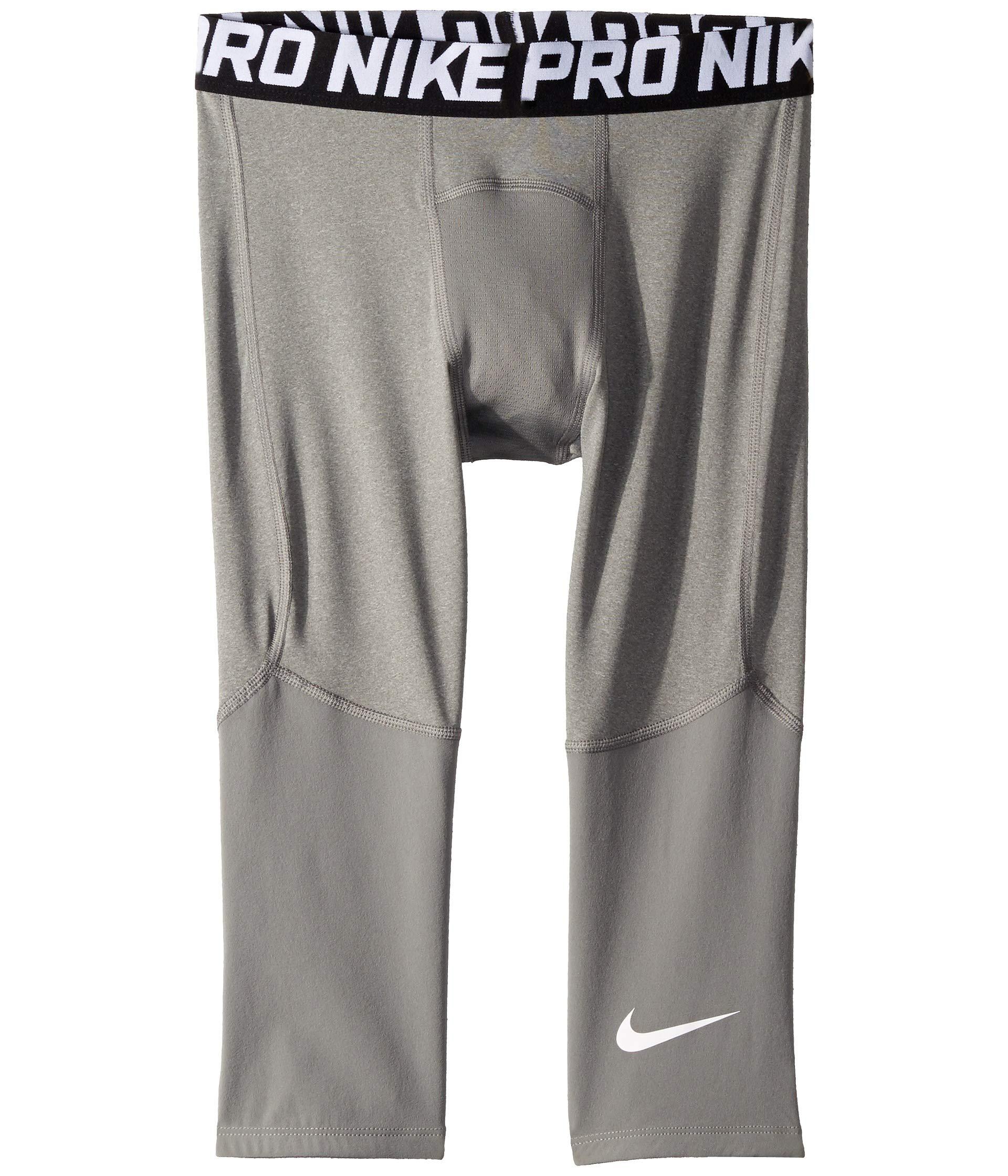 Nike Pro Boy`s 3/4 Printed Training Leggings (Carbon Heather(BV3506-091)/White, Large) by Nike