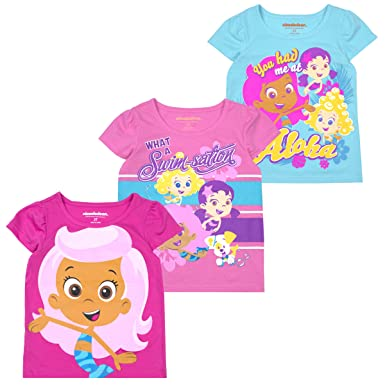 31c2b6e93f Amazon.com  Bubble Guppies Nickelodeon Toddler Girls  Short Sleeve T-Shirt  (Pack of 3)  Clothing