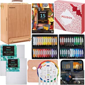 MEEDEN 70-Piece Premium Acrylic Painting Set - Solid Beech Wood Easel Box, 48×22ML Acrylic Paint Set, and All Additional Supplies, for Children's Day Beginning Artists, Students & Kids
