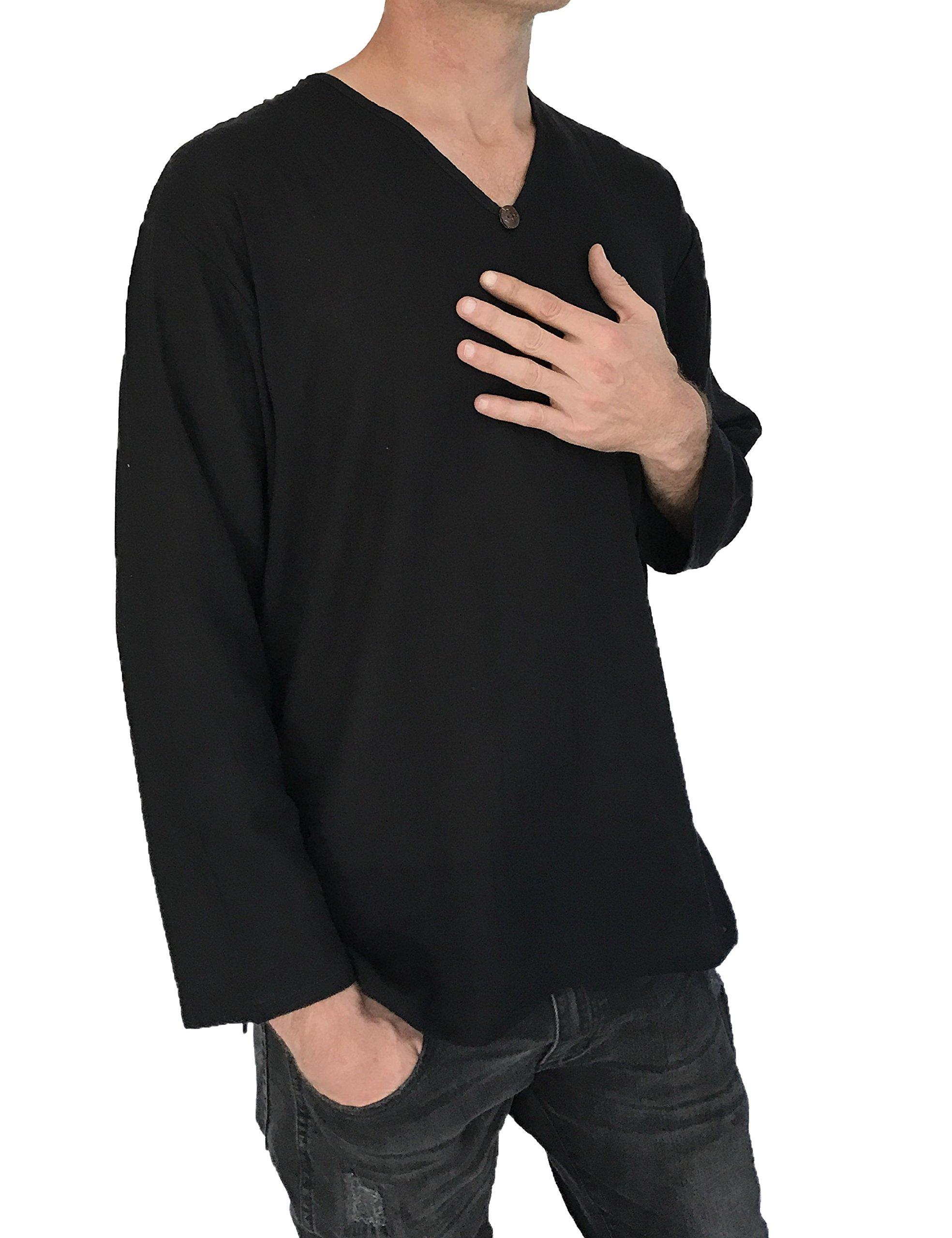 Love Quality Men's T-Shirt 100% Cotton Hippie Shirt Beach Yoga Top Feature Button (Medium, Black) by Love Quality (Image #3)